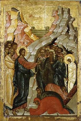 The Raising of Lazarus, Russian icon 15th centu