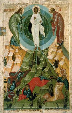 The Transfiguration of Our Lord, Russian icon from the Holy Theotokos Dormition Church on the Voloto 15th centu