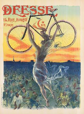 French Art Nouveau Poster for Deesse Bicycles c.1898