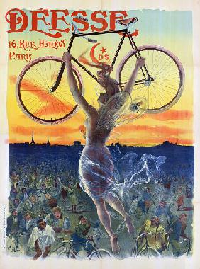Vintage French Poster of a Goddess with a Bicycle c.1898