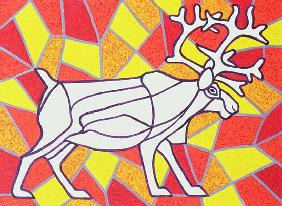 Reindeer on Stained Glass