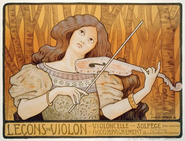 Reproduction of a poster advertising 'Violin Lessons', Rue Denfert-Rochereau, Paris, 1898 15th