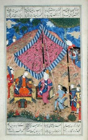 Ms D-184 fol.203a The Tent of the Persian Army, illustration from the 'Shahnama' (Book of Kings) c.1510-40