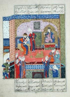 Ms D-184 fol.381a Interior of the King of Persia's Palace, illustration from the 'Shahnama' (Book of c.1510-40