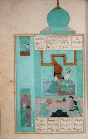 Ms D-212 fol.216a Bahram Visits a Princess in the Turquoise Pavilion, illustration to 'The Seven Pri c.1550