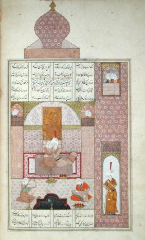 Ms D-212 fol.221b Bahram (420-28) Visits the Princess of Rum, illustration to 'The Seven Princesses' c.1550