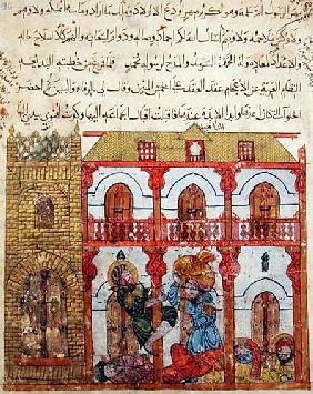 Ms c-23 f.99a Thief Taking his Loot, from 'The Maqamat' (The Meetings) by Al-Hariri (1054-1121) c.1240