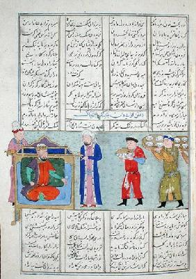 Ms C-822 Preparation of the feast ordered by Feridun before his departure for war, from the 'Shahnam