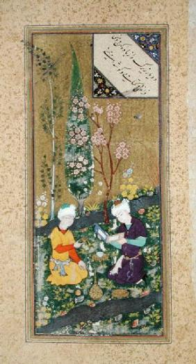 Ms C-860 fol.9a Two Figures Reading and Relaxing in an Orchard c.1540-50