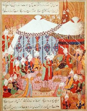Or.1359 fol. 35 v. Sultan Bayazid Captured by Timur (1370-1405) from the Zafenamah 1552