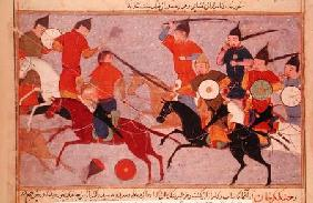 Ms Pers.113 f.49 Genghis Khan (c.1162-1227) in Battle 14th centu