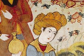 Shah Abbas I (1588-1629) and a Courtier offering fruit and drink (detail of 155563 depicting the hea