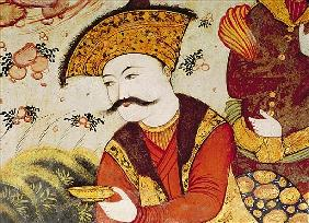 Shah Abbas I (1588-1629) and a Courtier offering fruit and drink (detail of 155563 showing the head
