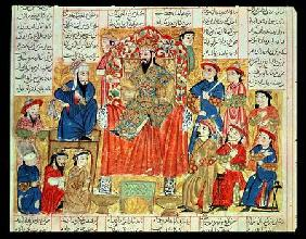 A Sultan and his Court, illustration from the 'Shahnama' (Book of Kings) c.1330