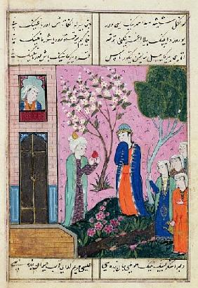 The king bids farewell'', poem from the Shiraz region, c.1470-90 (gouache, gold leaf & ink on paper)