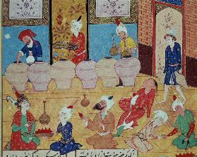 Fol.33v, Detail of a banquet with musicians, from a book of poems Hafiz Shirazi 1554