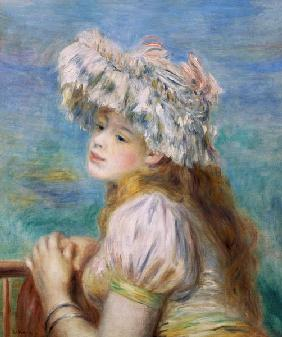 Portrait of a young woman in a lace hat 1891