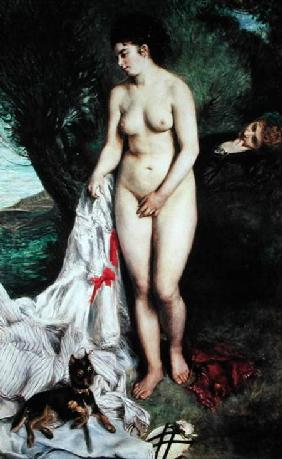 Bather with a Griffon dog 1870