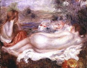 Bather reclining and a young girl doing her hair 1896