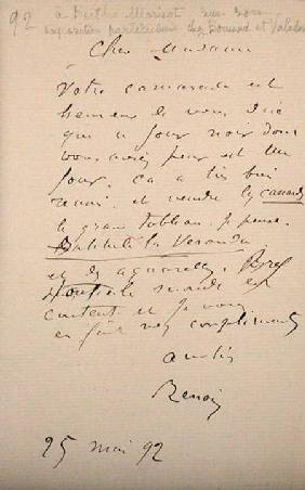 Letter from Renoir to Berthe Morisot (1841-95) regarding her first exhibition 25th May 1