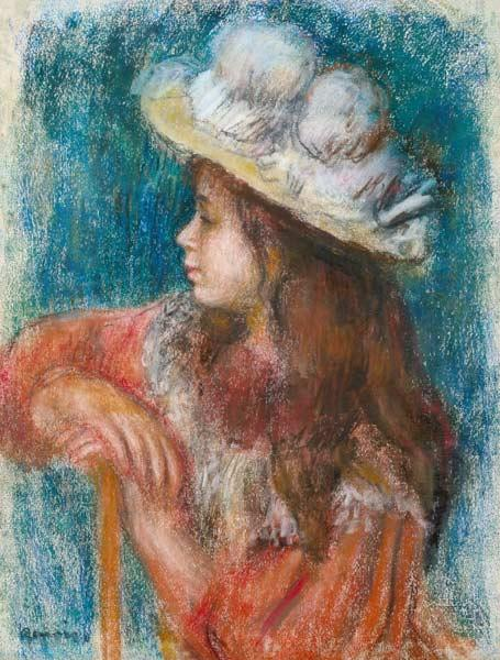 Seated Young Girl in a White Hat 1884 stel