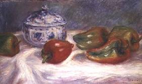 Still life with a sugar bowl and red peppers c.1905