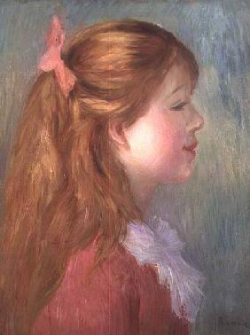 Young girl with Long hair in profile 1890