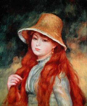 Young girl with long hair, or Young girl in a straw hat 1884