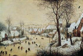 Winter Landscape with Skaters and a Bird Trap 1565