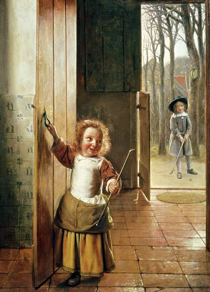 Children in a Doorway with 'Colf' Sticks c.1658-60