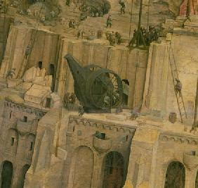 The Tower of Babel, detail of construction work, 1563 (oil on panel) (detail of 345) 1568