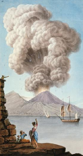 Eruption of Vesuvius, Monday 9th August 1779, plate 3, published as a supplement to 'Campi Phlegraei published