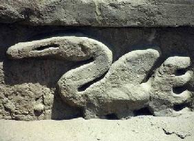 Bird design on one of the walls inside the ruined pre-Inca city, built by the Chimu c.1300
