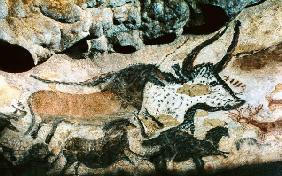 Rock painting of a bull and horses c.17000 BC