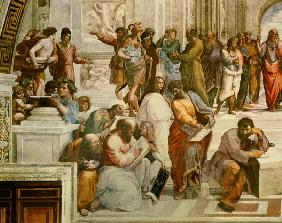 The School of Athens, detail from the left hand side showing Pythagoras surrounded by students and M 1510
