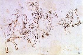 Study of four horsemen and a male nude for a 'Sacre Conversazione' (pen & ink)