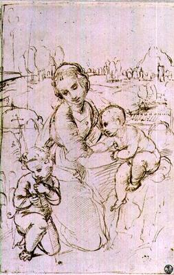 Study of a Madonna and Child with the infant St. John the Baptist (pen & ink) 17th