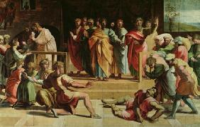 The Death of Ananias (cartoon for the Sistine Chapel) (PRE RESTORATION) 19th