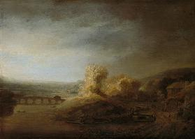 Landscape with arch bridge