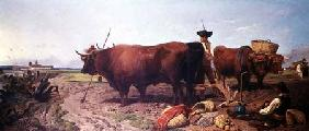 Ploughing in Spain, Noonday Rest with Seville Beyond 1857