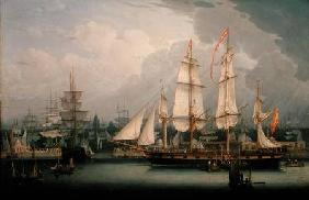 Four-Masted Clipper Ship in Liverpool Harbour c.1810