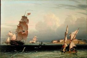 Ship Going Out, Fort Independence, Boston Harbour 1832