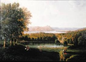 View from the Tarrytown of the Hudson River Old Dutch Church and Beckham Manor 1866