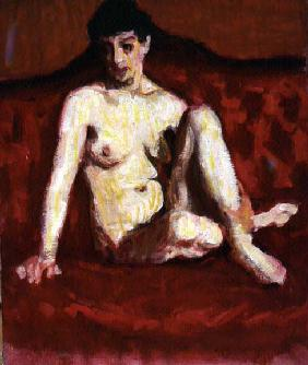 Seated Nude on a Red Sofa (oil on canvas)