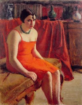 Seated Woman in a Red Dress, 1929 (oil on canvas)