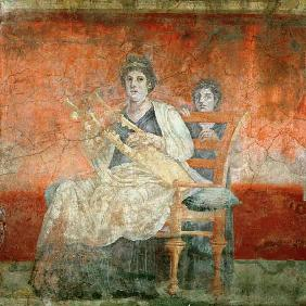 Noblewoman playing a Cithera, from the Boscoreale Villa, Pompeii c.50 BC