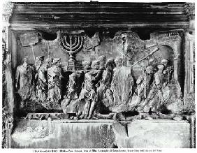 The Arch of Titus, detail of the Temple treasures being carried after the Sack of Jerusalem in 70 AD 81 AD