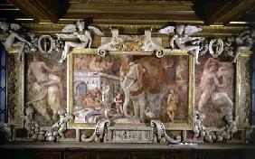 The Triumphal Elephant, an allegorical tribute to Francis I, detail of decorative scheme in the Gall 1530-40