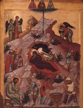 The Nativity, Russian icon 16th centu