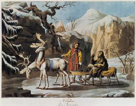 Yakuts of central Siberia in winter landscape, clad in furs and with a reindeer sledge 1813